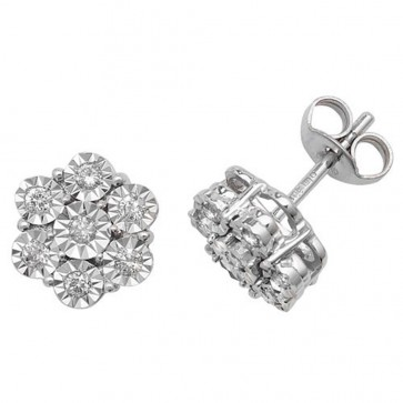 9ct White Gold 0.25ct Diamond Illusion Set Flower Stud Earrings