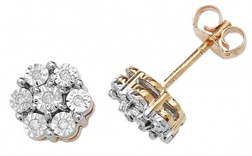 9ct Yellow Gold 0.08ct Diamond Illusion Set Flower Stud Earrings