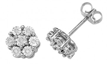 9ct White Gold 0.08ct Diamond Illusion Set Flower Stud Earrings