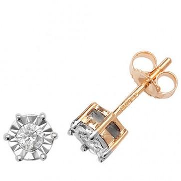9ct Yellow Gold 0.20ct Diamond Illusion Set Stud Earrings