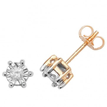 9ct Yellow Gold 0.25ct Diamond Illusion Set Stud Earrings