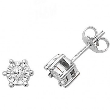 9ct White Gold 0.25ct Diamond Illusion Set Stud Earrings