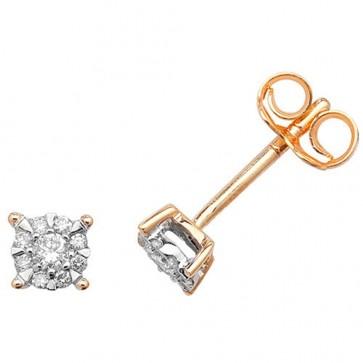 9ct Yellow Gold 0.16ct Diamond Stud Earrings