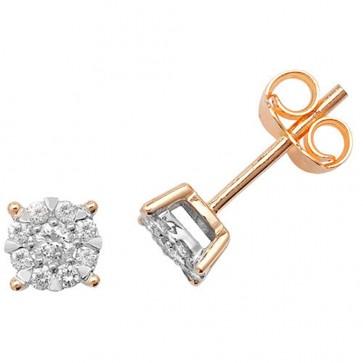 9ct Yellow Gold 0.26ct Diamond Stud Earrings