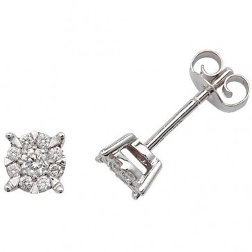 9ct White Gold 0.26ct Diamond Stud Earrings