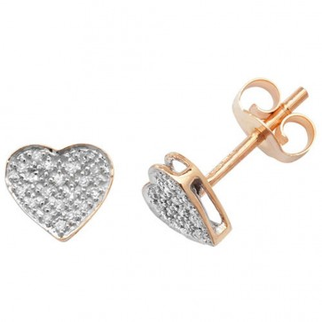 9ct Yellow Gold 0.10ct Diamond Heart Stud Earrings