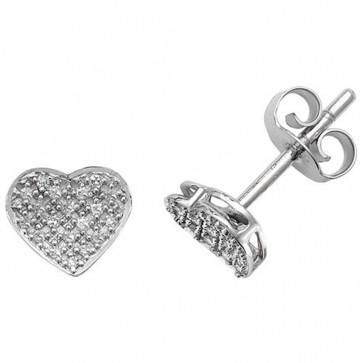 9ct White Gold 0.10ct Diamond Heart Stud Earrings
