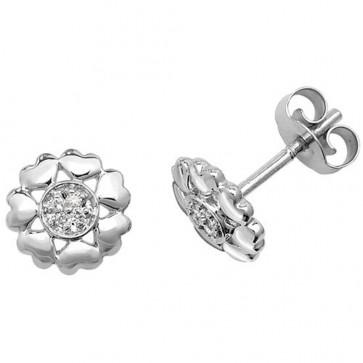 9ct White Gold 0.03ct Diamond Flower Stud Earrings