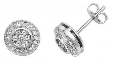 9ct White Gold 0.25ct Diamond Stud Earrings