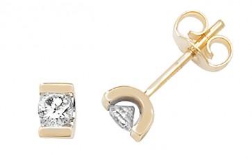9ct Yellow Gold 0.25ct Diamond Single Stone Stud Earrings