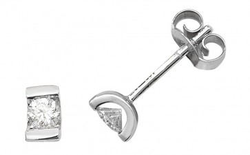 9ct White Gold 0.25ct Diamond Single Stone Stud Earrings