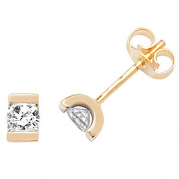 9ct Yellow Gold 0.33ct Diamond Single Stone Stud Earrings