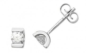 9ct White Gold 0.33ct Diamond Single Stone Stud Earrings
