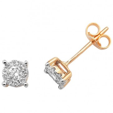 9ct Yellow Gold 0.25ct Diamond Stud Earrings