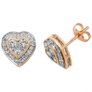 9ct Yellow Gold 0.50ct Diamond Heart Stud Earrings