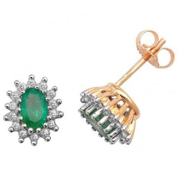 9ct Yellow Gold  Diamond & Oval Emerald Stud Earrings