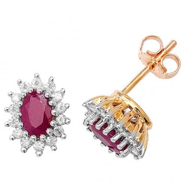 9ct Yellow Gold Diamond & Oval Ruby Stud Earrings