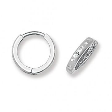 9ct White Gold 12MM Diamond Cut Hinged Hoop  Earrings