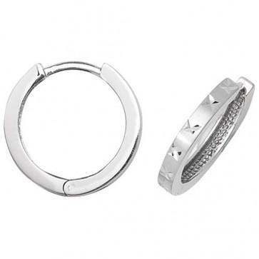 9ct White Gold 16MM Diamond Cut Hinged Hoop Earrings