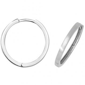 9ct White Gold 22MM Plain Hinged Hoop Earrings