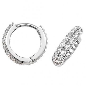 9ct White Gold 12MM Cubic Zirconia Hinged Hoop Earrings