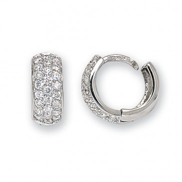 9ct White Gold 15MM Cubic Zirconia Set Hinged Hoop Earrings