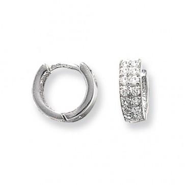 9ct White Gold 10MM Cubic Zirconia Set Hinged Hoop Earrings