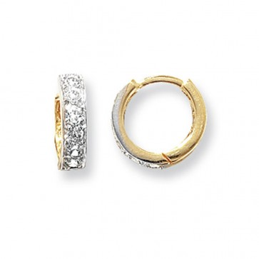 9ct Yellow Gold 11MM Cubic Zirconia Set Hinged Hoop Earrings