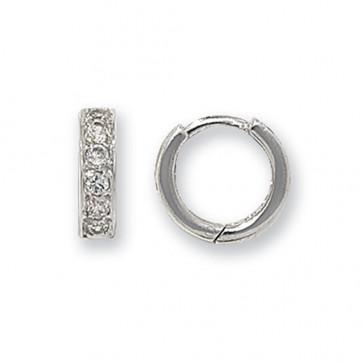 9ct White Gold 11MM Cubic Zirconia Set Hinged Hoop Earrings