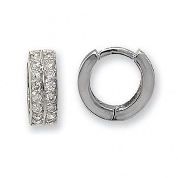 9ct White Gold 14MM Cubic Zirconia Set Hinged Hoop Earrings
