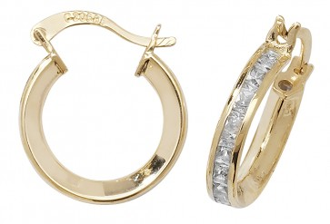 9ct Yellow Gold Cubic Zirconia Medium Hoop Earrings