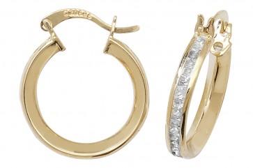 9ct Yellow Gold Cubic Zirconia Large Hoop Earrings