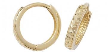 9ct Yellow Gold 12MM Hinged Hoop Earrings