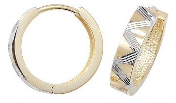 9ct Yellow and White Gold 15MM Hinged Hoop Earrings
