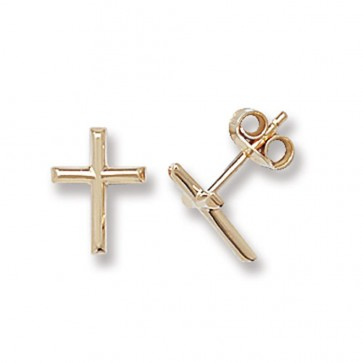 9ct Yellow Gold Cross Stud Earrings
