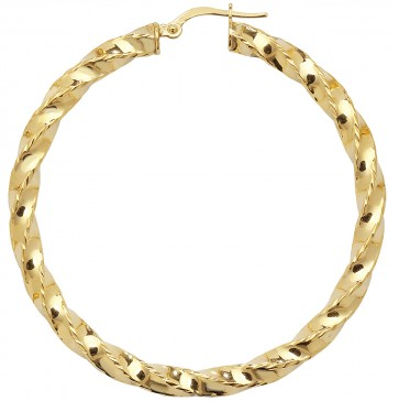 9ct Yellow Gold Extra Large Diamond Cut Twist Hoop Earrings