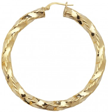 9ct Yellow Gold Large Diamond Cut Twist Hoop Earrings
