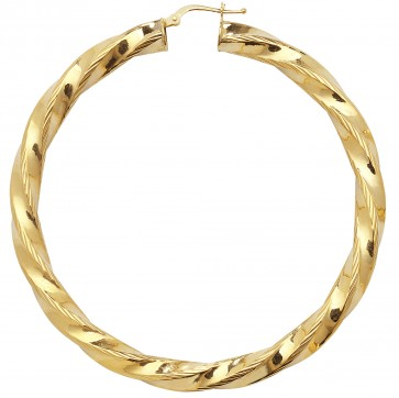 9ct Yellow Gold Extra Large Diamond Cut Twist Hoop Earrings