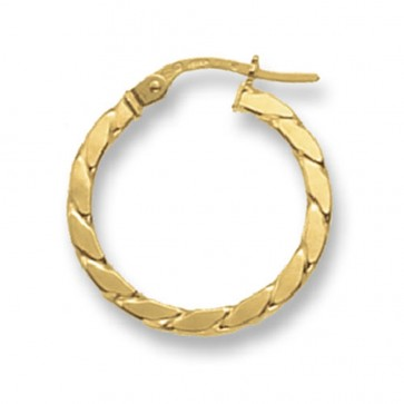 9ct Yellow Gold Small Square Twist Hoop Earrings