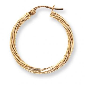 9ct Yellow Gold Large Twist Hoop Earrings