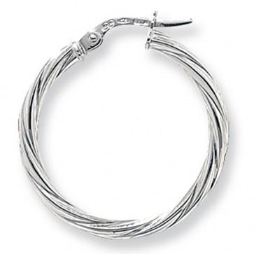 9ct White Gold Large Twist Hoop Earrings