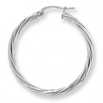 9ct White Gold Extra Large Twist Hoop Earrings