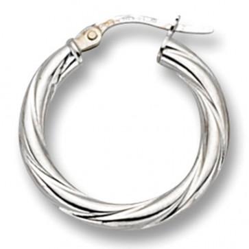 9ct White Gold Small Twist Hoop Earrings