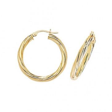 9ct Yellow Gold Medium Twist Hoop Earrings