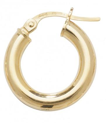 9ct Yellow Gold Medium Plain Hoop Earrings