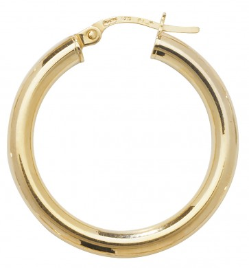 9ct Yellow Gold Extra Large Plain Hoop Earrings