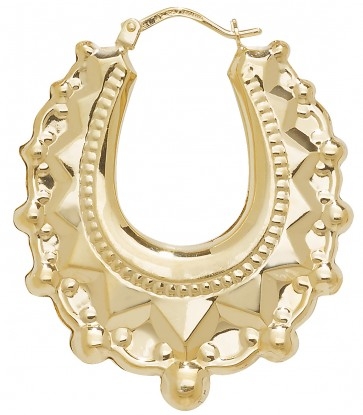 9ct Yellow Gold Small Fancy Creole Earrings