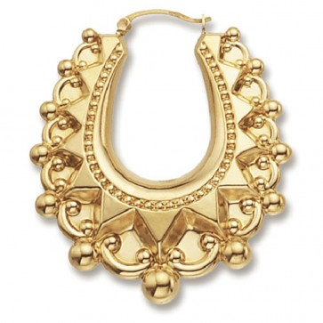 9ct Yellow Gold Medium Fancy Creole Earrings