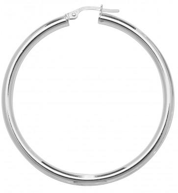 9ct White Gold Plain Hoop Earrings