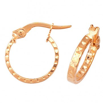9ct Yellow Gold Small 12mm Diamond Cut Patterned Earrings